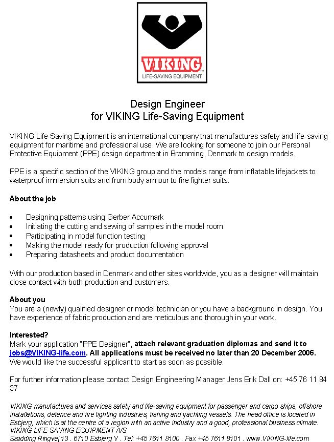 CV Market´s client Design Engineer for VIKING Life-Saving Equipment
