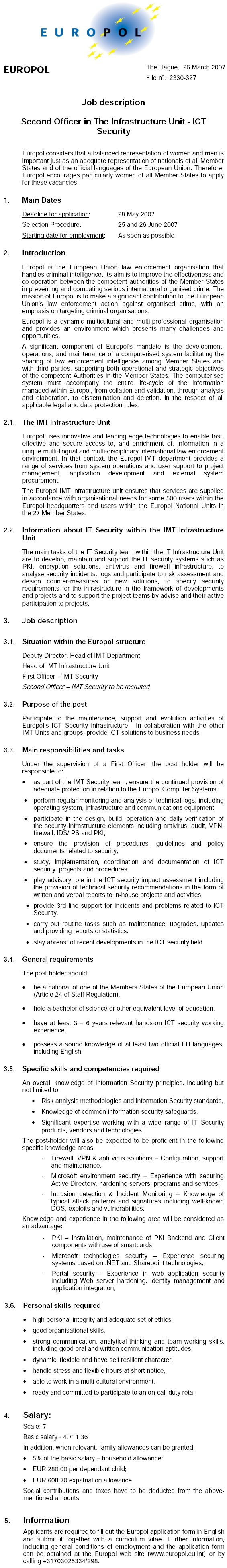 CV Market client Second Officer in The Infrastructure Unit - ICT Security