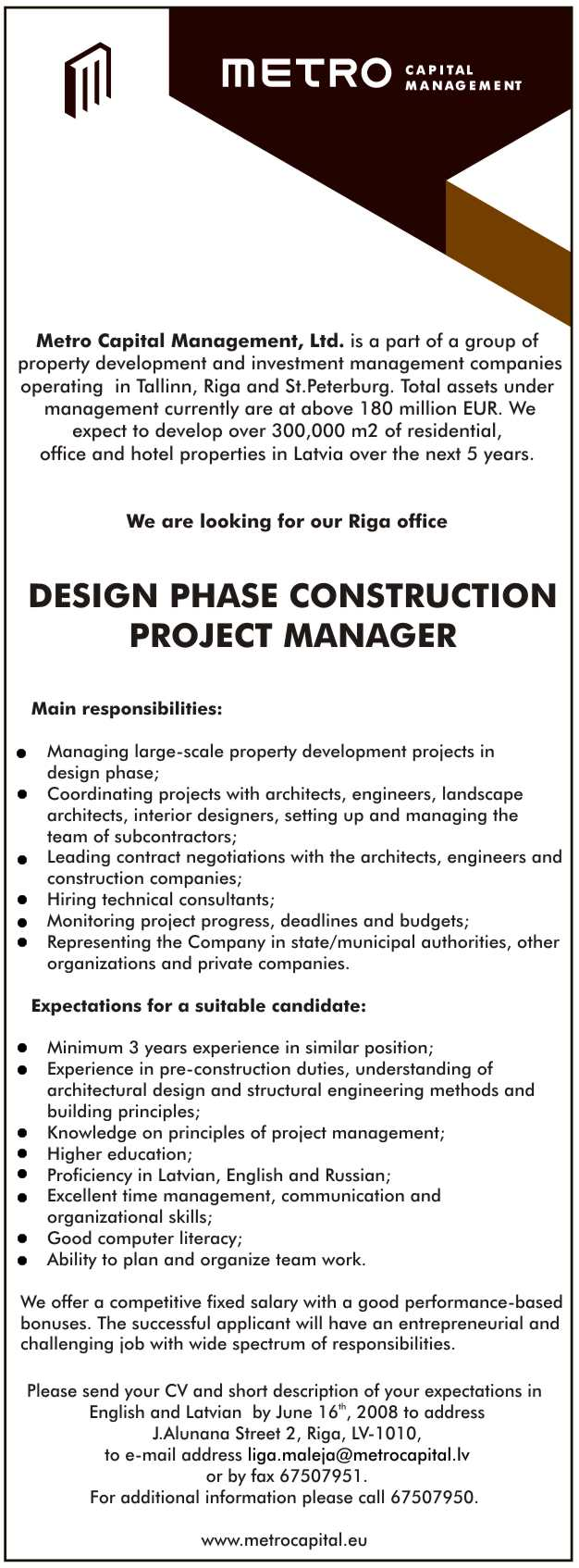 CV Market´s client Design phase construction project manager