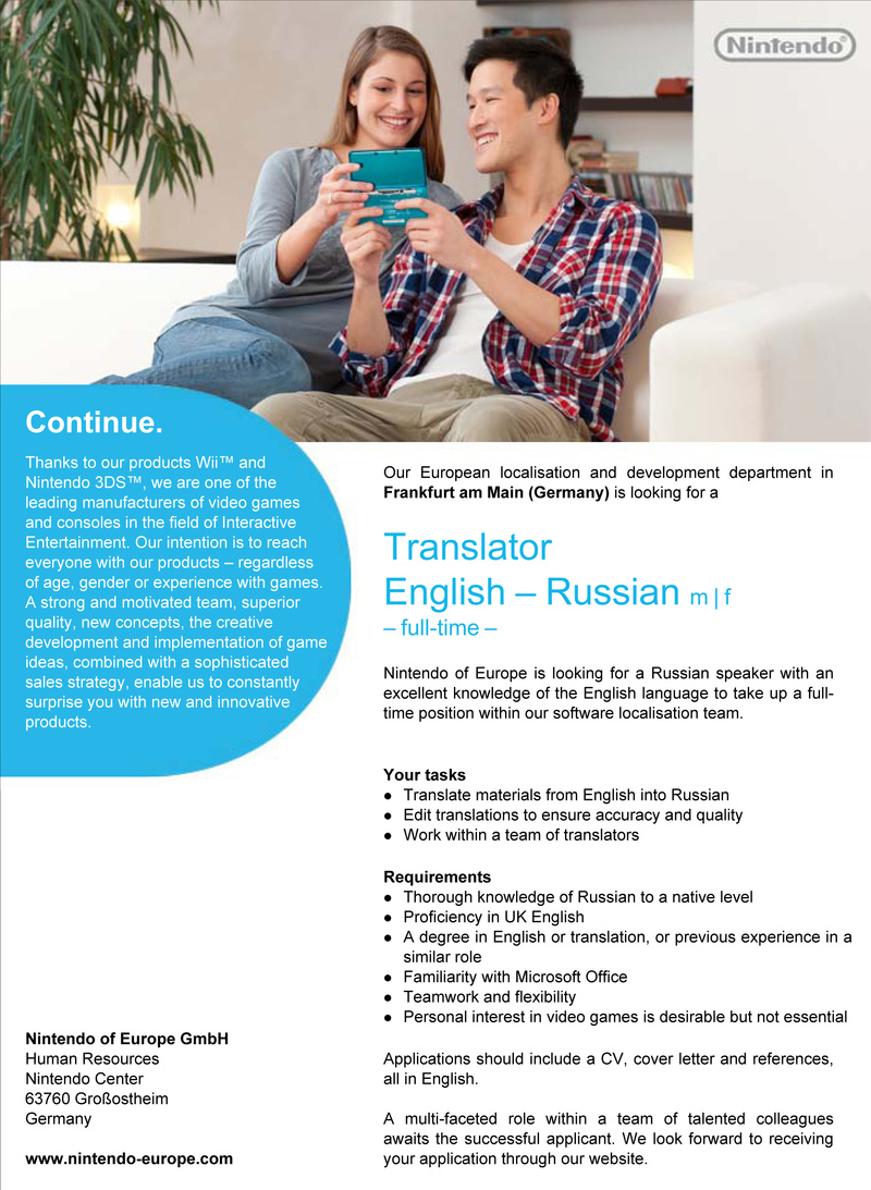 CV Market´s client Translator  English – Russian m | f