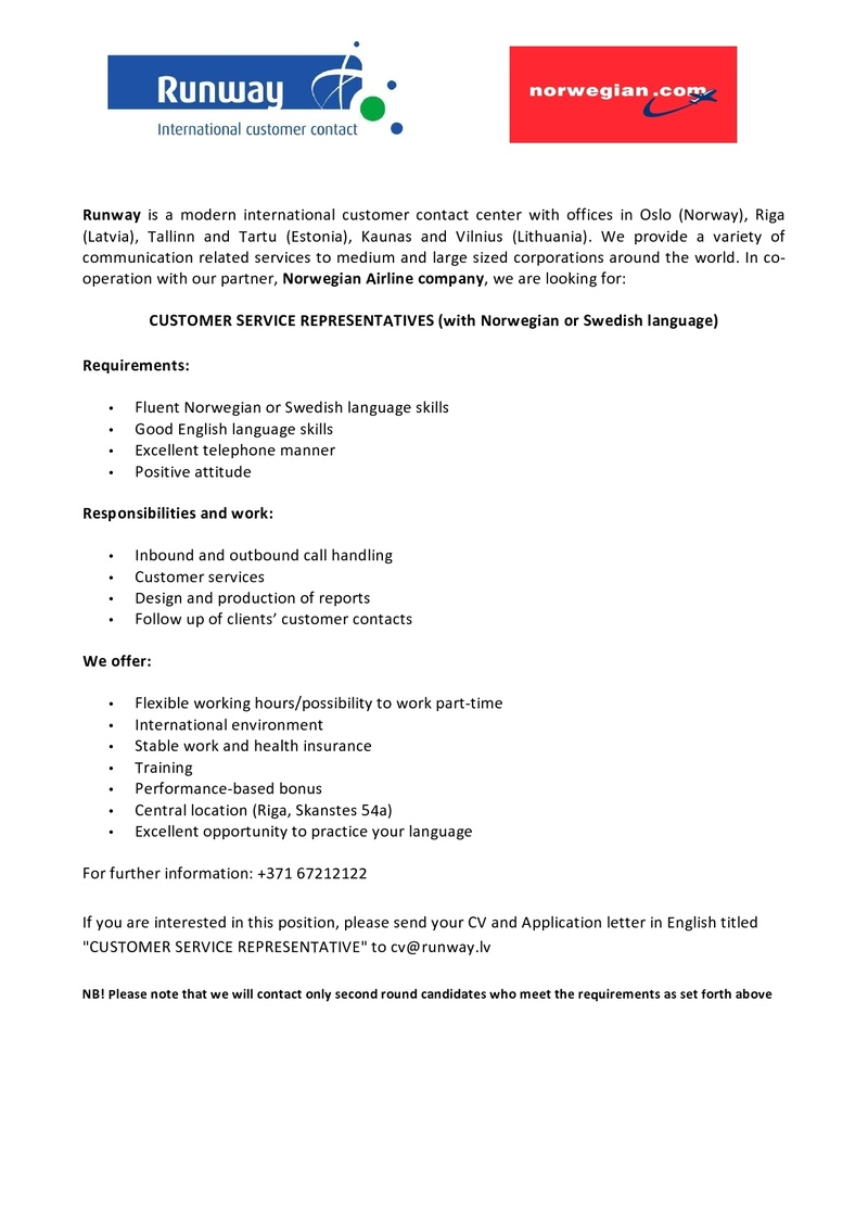 CV MARKET klients CUSTOMER SERVICE REPRESENTATIVES (with Norwegian or Swedish language)