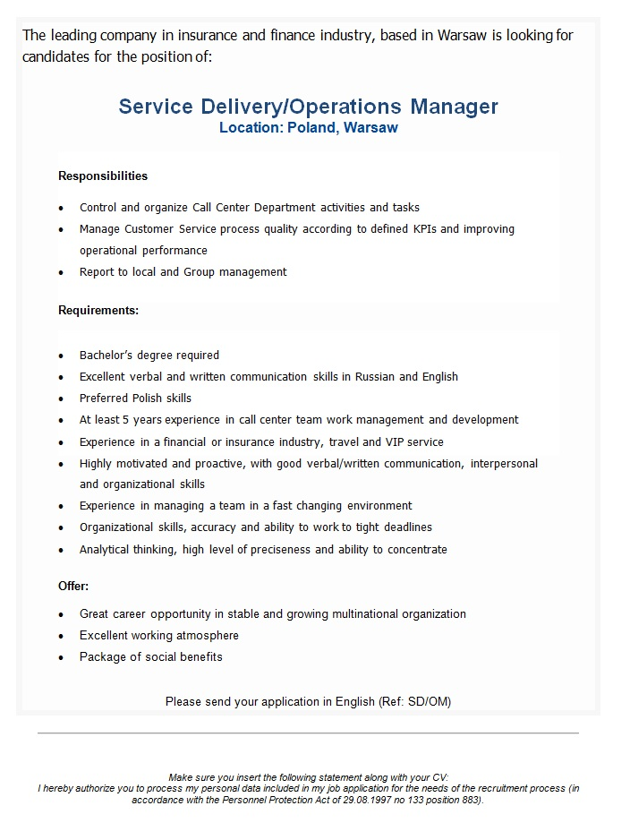 CV Market´s client Service Delivery/Operations Manager