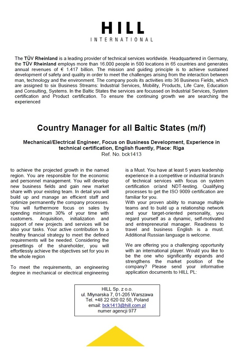 CV Market client Country Manager for all Baltic States (m/f)