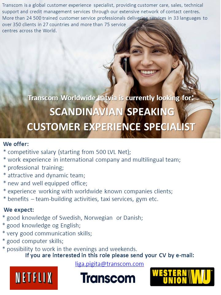 CV MARKET klients Swedish speaking customer experience specialist