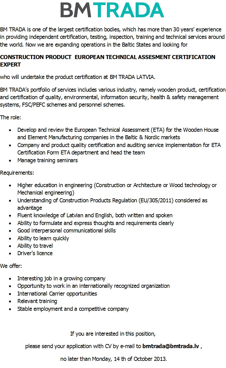 CV Market´s client CONSTRUCTION PRODUCT  EUROPEAN TECHNICAL ASSESMENT CERTIFICATION EXPERT