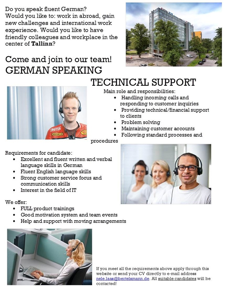 CV Market´s client GERMAN SPEAKING TECHNICAL SUPPORT