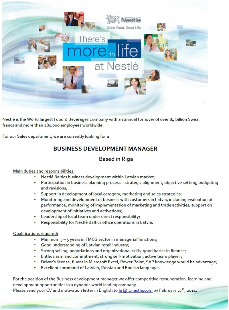 CV Market´s client BUSINESS DEVELOPMENT MANAGER
