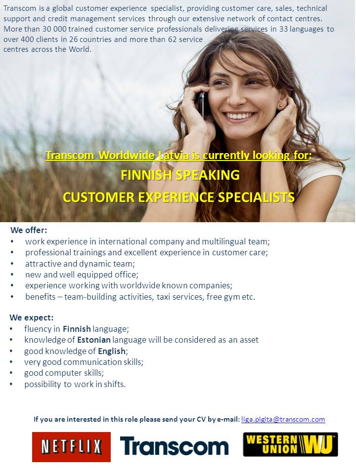 CV MARKET klients Finnish speaking customer service representative