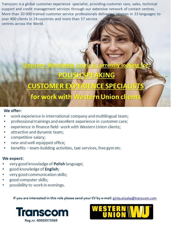 CV MARKET klients Polish speaking Customer service representative
