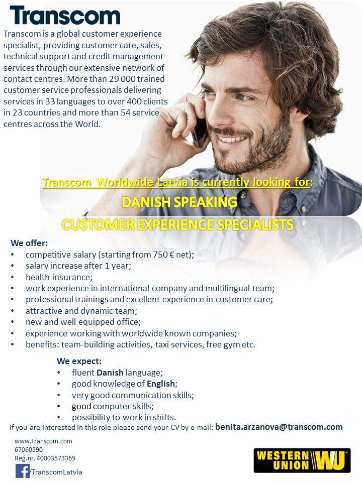 CV MARKET klients Danish speaking Customer service representative