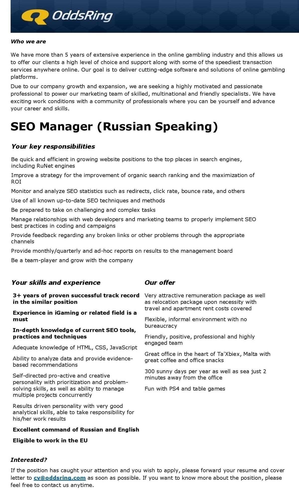 CV Market´s client SEO Manager (Russian Speaking)
