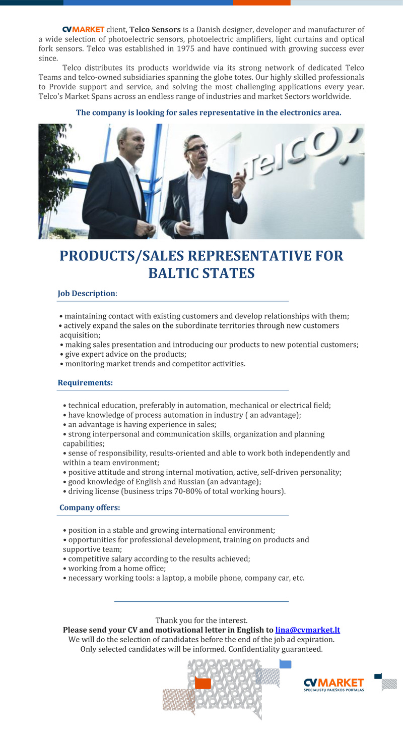 CV Market´s client PRODUCTS/ SALES REPRESENTATIVE FOR BALTIC STATES