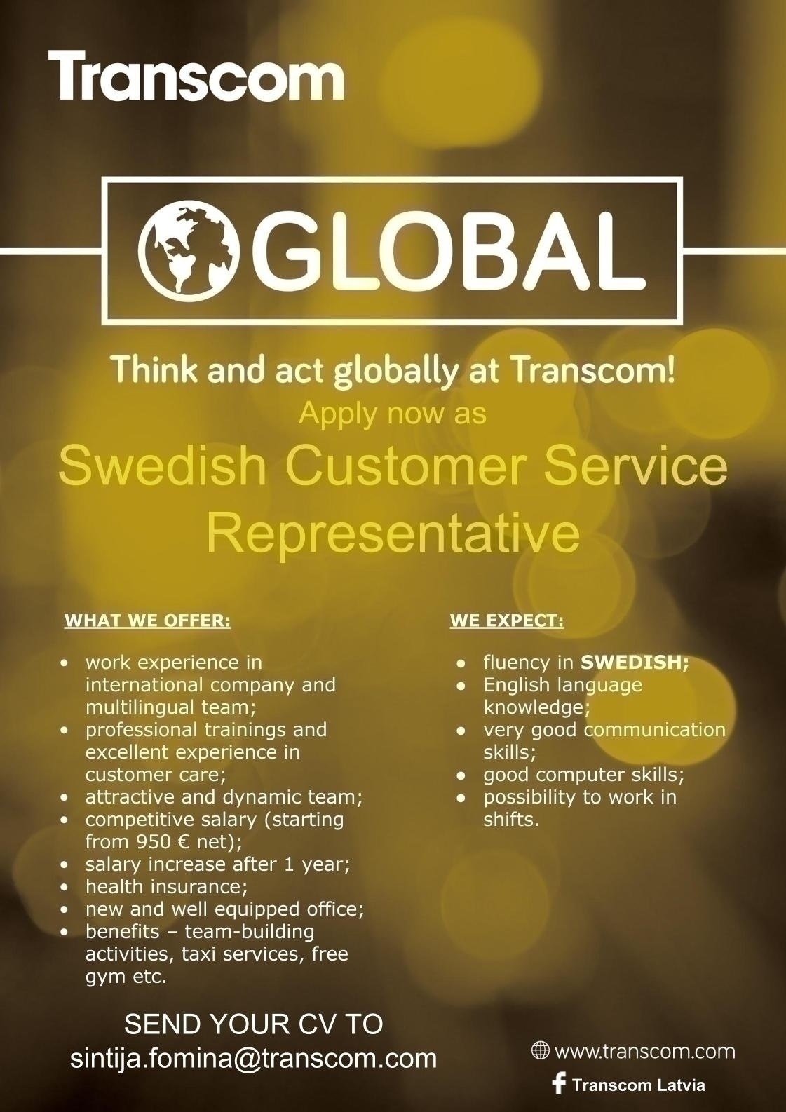 CV MARKET klients Swedish Speaking Customer Specialist