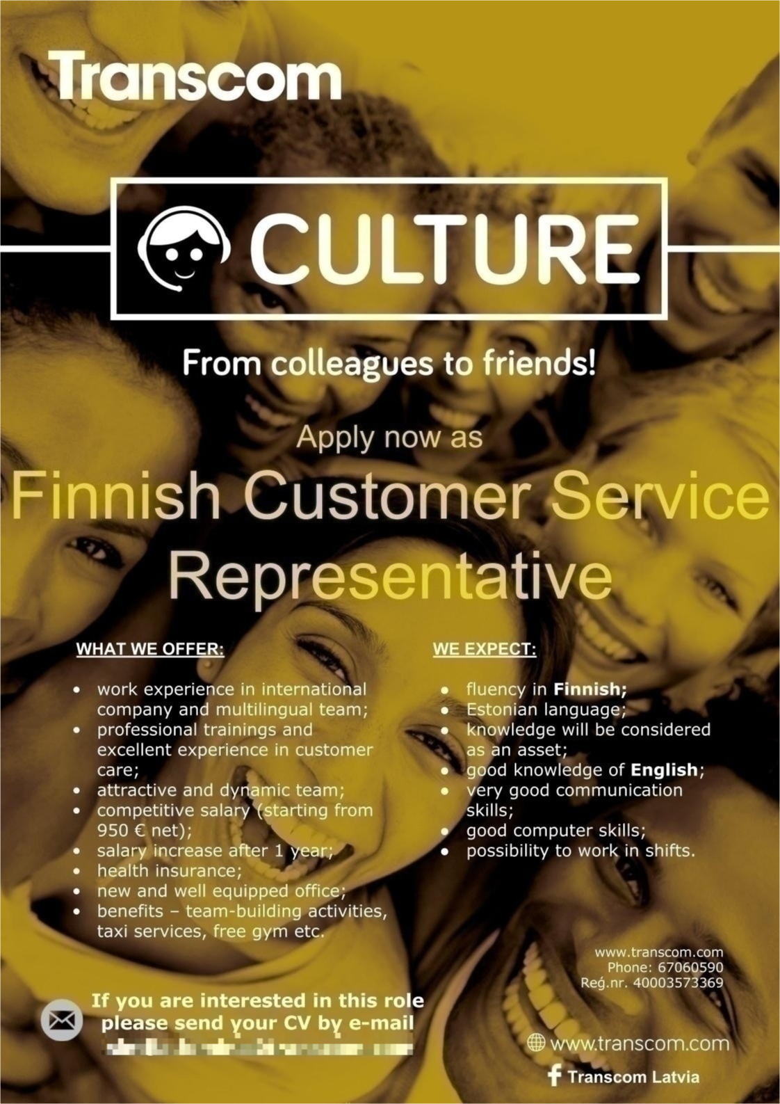 CV MARKET klients Finnish Speaking Customer Specialist