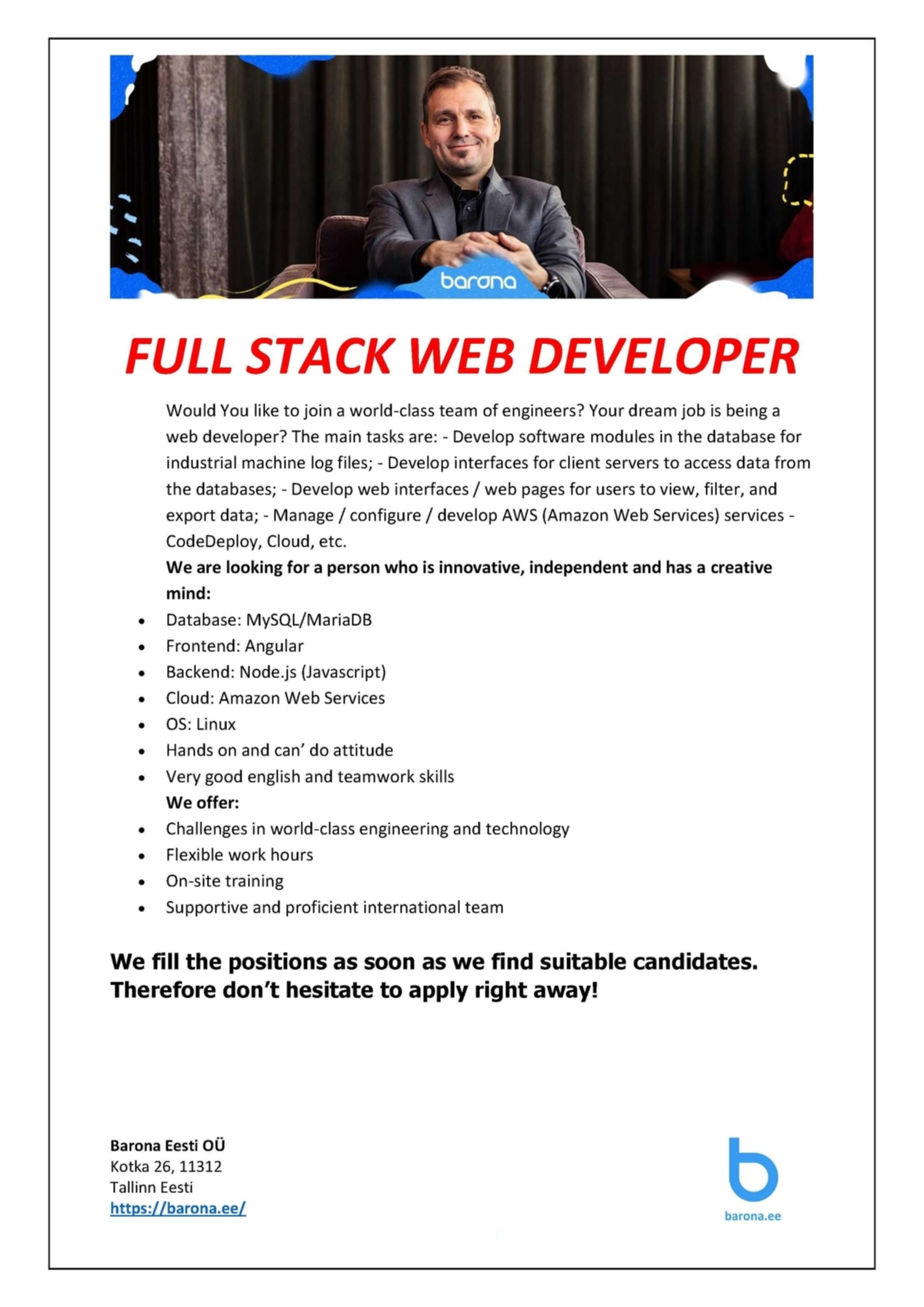 CV Market´s client Full Stack WEB Developer