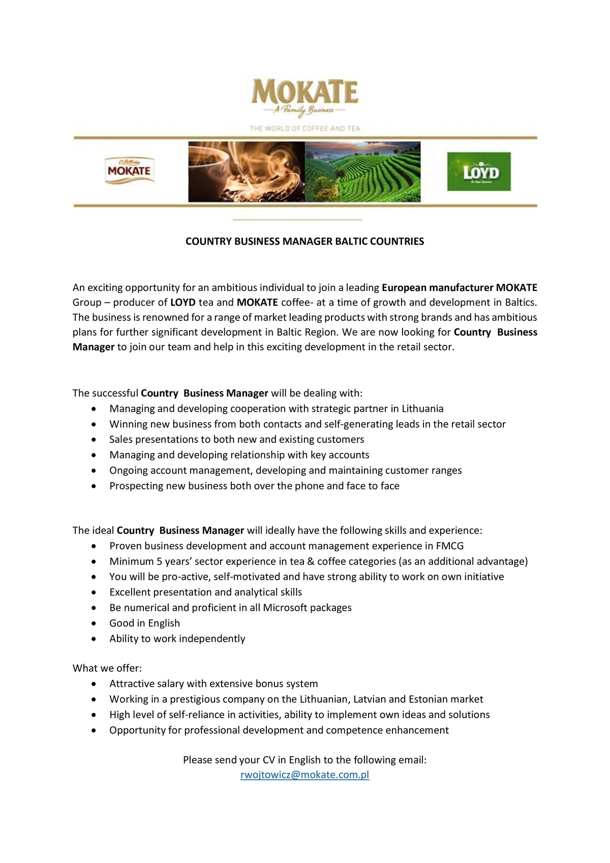 CV Market´s client Country Business Manager