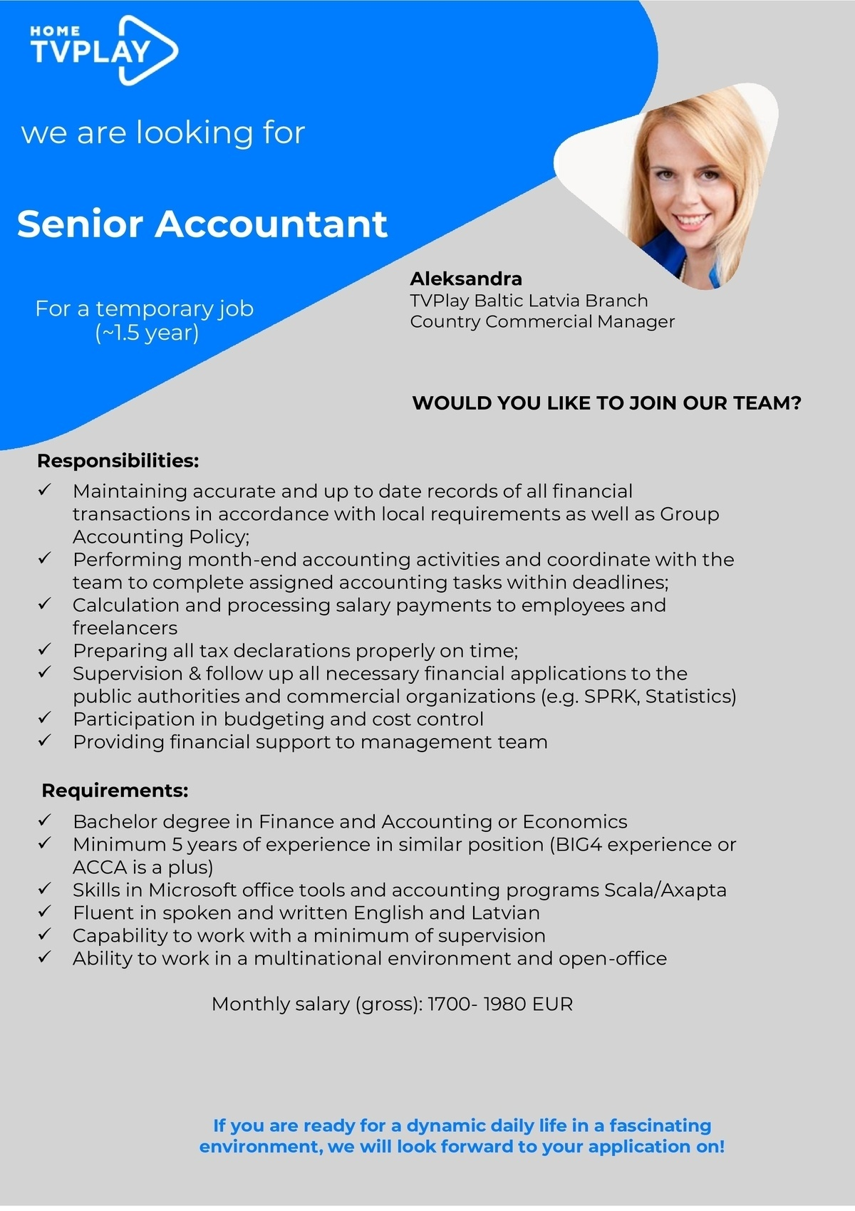 CV MARKET klients Senior Accountant