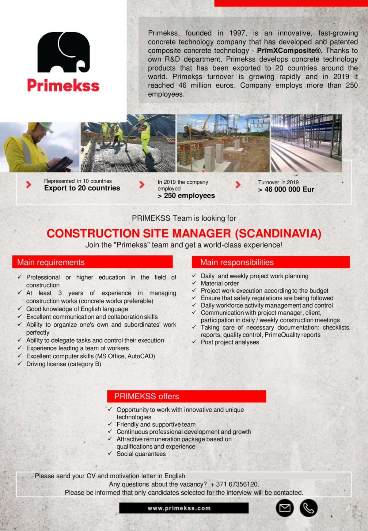 CV MARKET klients Construction Site Manager (Scandinavia)